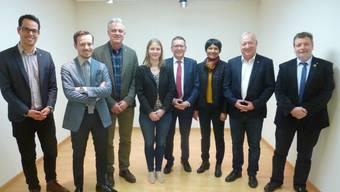 v.l.n.r.: Luca Strebel, Präsident CVP Solothurn-Lebern; Boris Lisser; Thomas Studer; Andrea Heiri; Pirmin Bischof, Ständerat; Susan von Sury; Peter Brotschi; Roland Heim, Regierungsrat