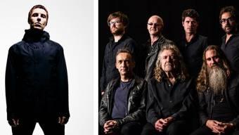 Zwei Briten, die jeder für sich mit seinen Songs eine Generation geprägt haben: Liam Gallagher (Oasis, links) und Robert Plant (Led Zeppelin, vorne Mitte).