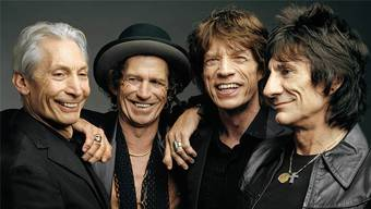 The Rolling Stones, die rüstige Rentnerband: Charlie Watts (76), Keith Richards (73), Mick Jagger (74) und Ron Wood (70).