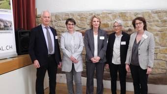 Christian Fricker konnte am Gemeindeseminar Regierungsrätin Franziska Roth, Barbara Hürlimann (Leiterin Abteilung Gesundheit) sowie die GZF-Führung mit Katharina Hirt und Anneliese Seiler (v.l.) begrüssen.