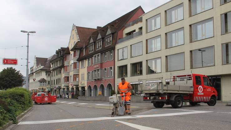 Der Brugger Bahnhofplatz ist für zwei Tage gesperrt.