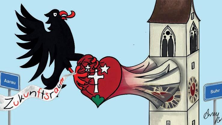 Reisst der Aarauer Adler das Herz aus Suhr heraus? Für viele Gegner ist das Fusionsprojekt eine sehr emotionale Angelegenheit.