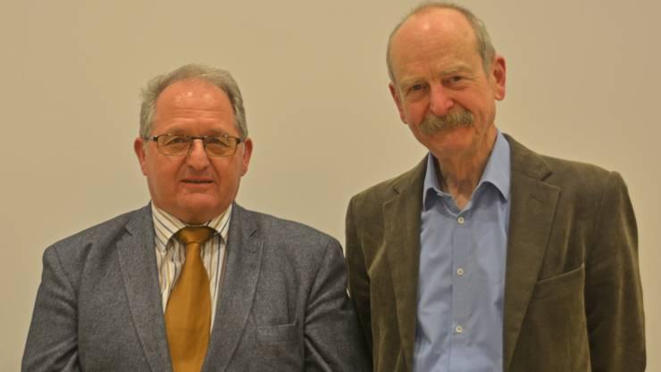 links der neue Spitex-Präsident Ruedi Gautschi, rechts Bernhard Stamm, der nach sechs Jahren Vereinstätigkeit (davon 5 als Präsident) zurück tritt.