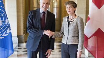 Bundesrätin Simonetta Sommaruga empfängt den UNO-Hochkommissar für Flüchtlinge, Filippo Grandi.