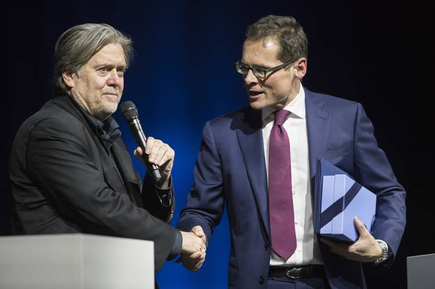 Roger Köppel, Chef der Weltwoche, hatte Bannon begrüsste Bannon.