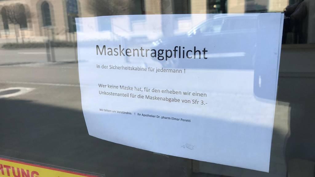 Maskentragepflicht bei der Schlüssel Apotheke in Rheineck