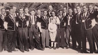 Der Jodlerclub Olten im Jahr 1936 auf seiner Reise an die Riviera.