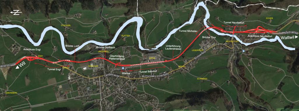 So sieht der Plan für die Umfahrungsstrasse aus. (Bild: Tiefbauamt St.Gallen)
