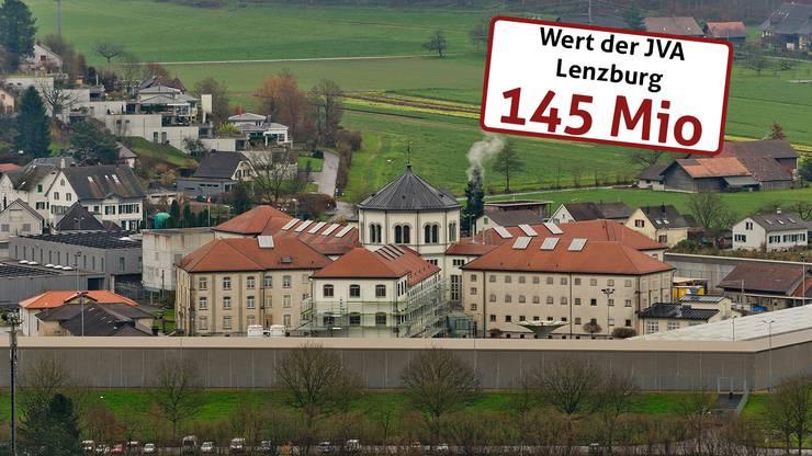 Die Justizvollzugsanstalt (JVA) Lenzburg wird im Wert auf 145 Millionen.