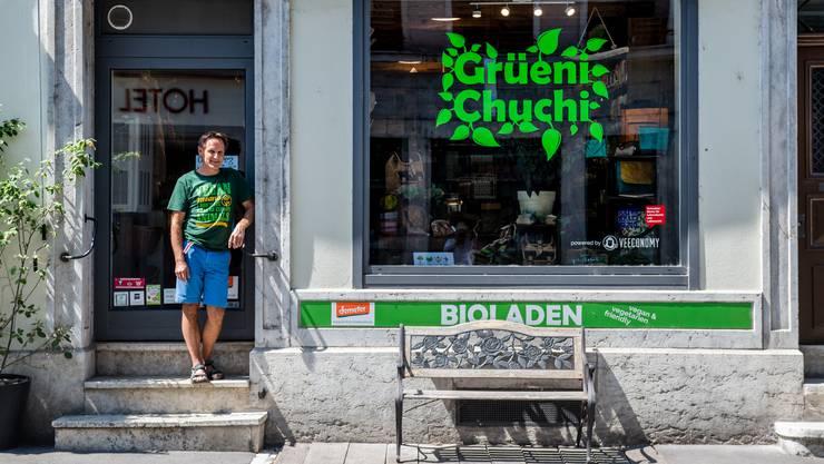 Stephan Linder hat vor einem Jahr die «Grüeni Chuchi» an der Berntorstrasse 8 übernommen, das Lokal ist heute zu klein.