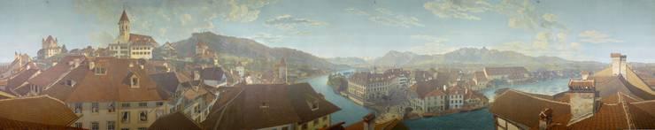 Das Thun-Panorama des Basler Malers Marquard Wocher entfaltet seine Wirkung erst im Rundbau in Thun, wo es in seiner Originalgrösse von 7,5 mal 38 Metern zu sehen ist.