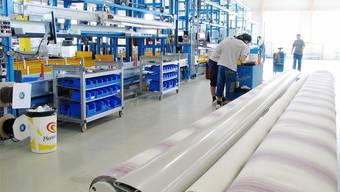 2006 wurde in Muri die modernste Markisenproduktionsanlage Europas in Betrieb genommen. Bild: zvg/Archiv