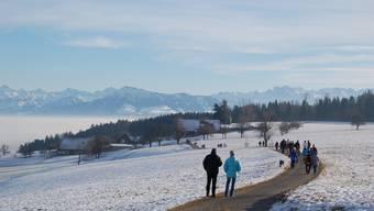 Horben im Winter: Kein grossartiges Schneesportgebiet, aber ein tolles Gelände für Winterspaziergänge. AR/HS