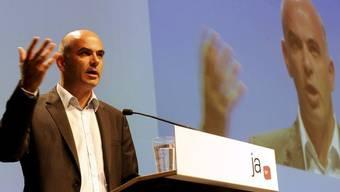 Bundesrat Alain Berset spricht am SP-Parteitag in Lugano