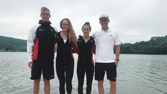 David Radam, Cherelle Östringer, Samira Arnold, Federico Salghetti (v.l.n.r.) haben am ersten Open-Water-Vorbereitungswettkampf teilgenommen.