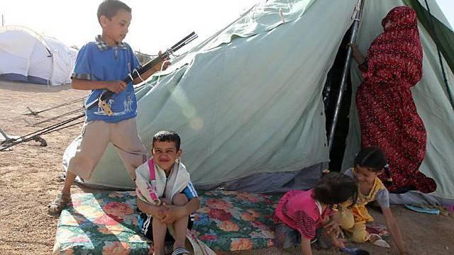 Flüchtlingslager auf tunesischer Seite der Grenze zu Libyen