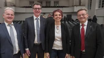 Die neuen Nidwaldner Regierungsratskandidaten Joe Christen und Niklaus Reinhard (beide FDP), Michele Blöchlinger (SVP), und Conrad Wagner aus Stans (Grüne/wild), von links.