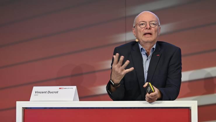 Vincent Ducrot, der Chef der SBB, bei der Präsentation der Halbjahreszahlen der Bundesbahn am Donnerstag in Bern.