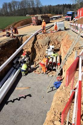 "Baustellenführung Teilverkabelung am ""Gäbihübel"" in Bözberg und Riniken; Bau Kabelrohrblock"