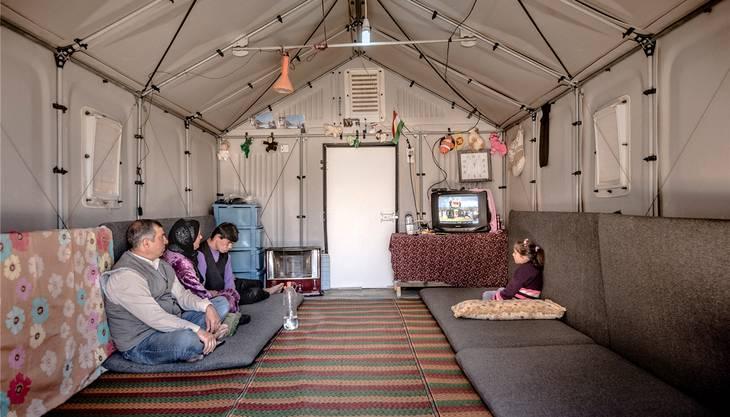 Bald auch im Aargau im Einsatz: Blick in das Innere eines Ikea-Hauses in einem Flüchtlingscamp im Irak.