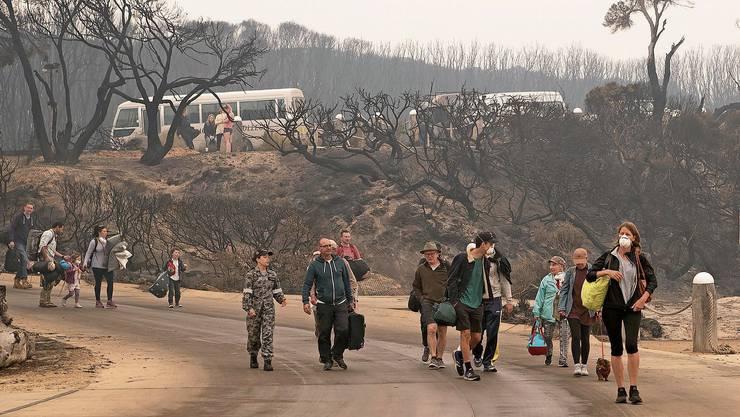 Evakuierte verlassen den Ferienort Mallacoota, der von den rasenden Buschfeuern bedroht wird.