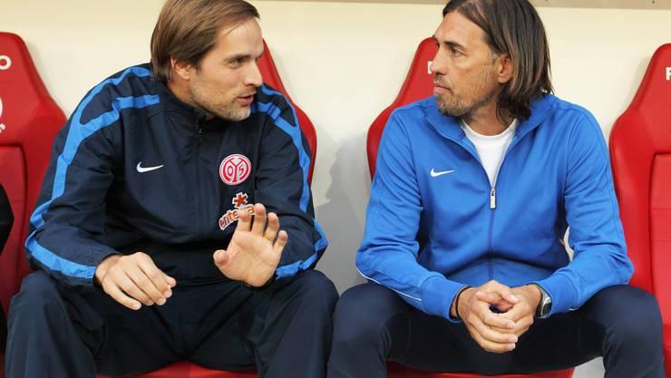 Martin Schmidt (rechts) in seiner Zeit bei Mainz als Assistent von Thomas Tuchel.