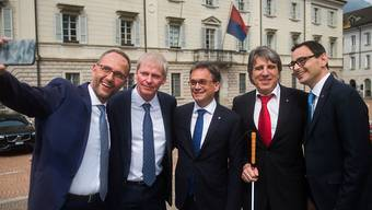Ein Selfie der neuen Tessiner Regierung zur konstituierenden Sitzung: Von links Norman Gobbi (Lega), Claudio Zali (Lega), Christian Vitta (FDP), Manuele Bertoli (SP) und der neue CVP-Staatsrat Raffaele De Rosa.