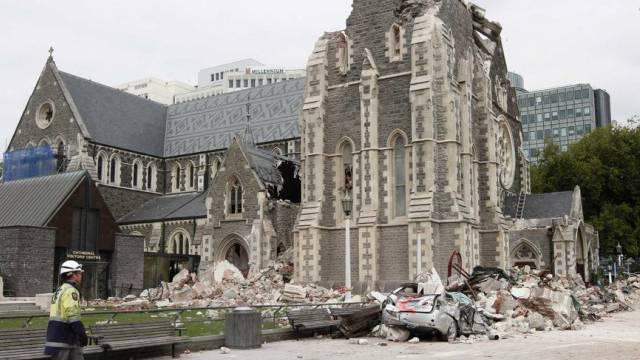 Die Kathedrale von Christchurch nach dem Beben von 2011 (Archiv)
