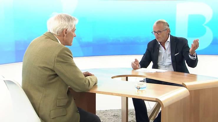 Michael Bornhäusser (rechts) im kritisierten Talk mit MCH-Verwaltungsratspräsident Ueli Vischer.