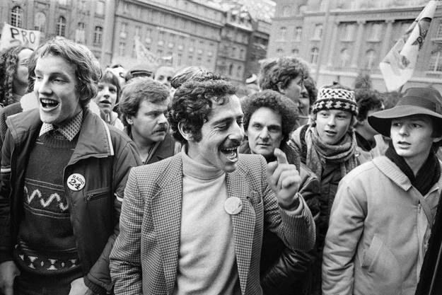 Roger Schawinski an der Radio 24 Demonstration, 1979