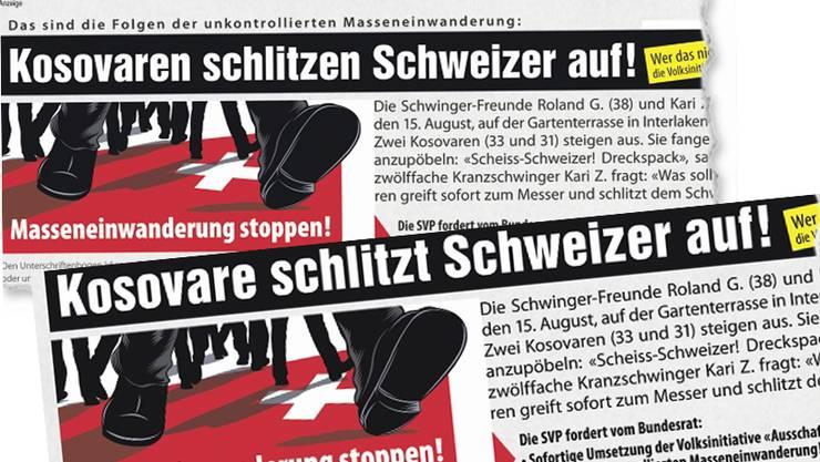 SVP-Inserat: «Kosovaren schlitzen Schweizer auf»