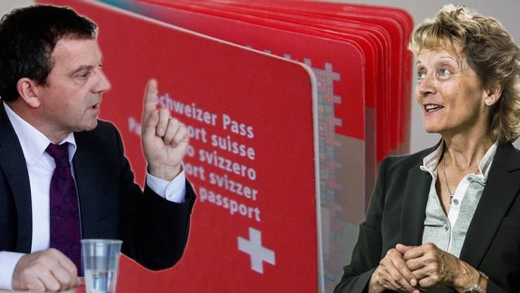 Eine Debatte zwischen SVP-Nationalrat Walter Wobmann und Alt-Bundesrätin (BDP) Eveline Widmer-Schlumpf.