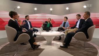 Die Aargauer Ständeratskandidaten in der SRF-Sendung «Cub» am Dienstagabend.