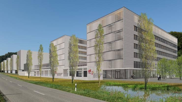 So soll Park Innovaare dereinst aussehen. Die erste Etappe entspricht den beiden markanten Gebäuden im Vordergrund sowie der angrenzenden Werkstatthalle.