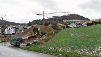 Das Gebiet Kirchwiesen: Hier entstehen 18 Reiheneinfamilienhäuser und sechs Mehrfamilienhäuser.