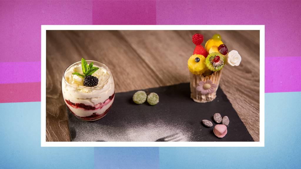 Brombeer-Tiramisù mit Früchte-Bouquet