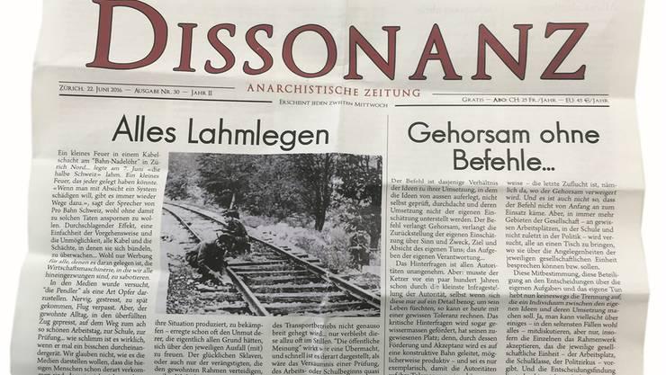 Applaus für Kurzschluss: Die anarchistische Zeitung «Dissonanz» aus Zürich. HO