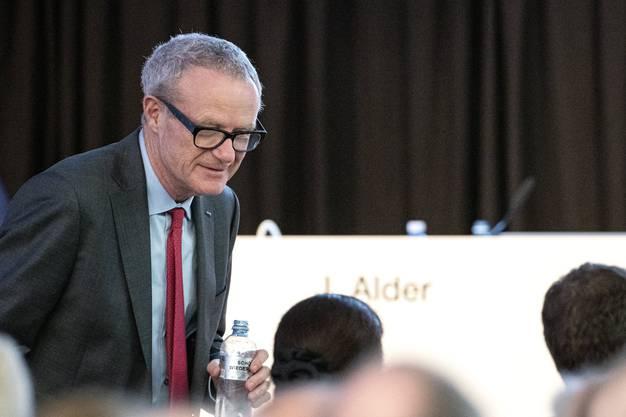 Grossaktionär Martin Haefner während der ausserordentlichen Generalversammlung von Schmolz und Bickenbach.