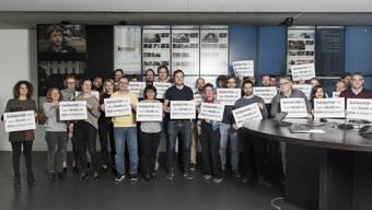 Mitarbeiter der «az Nordwestschweiz» zeigen sich mit dem Streik der SDA-Journalisten solidarisch.