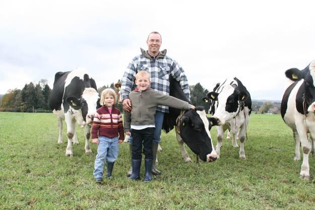 Felix Fischer mit Kindern Ivan und Jasmin