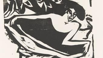Eine Grafik von Ernst Ludwig Kirchner, die eine Tänzerin zeigt.