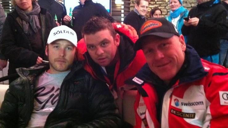 Dani Wisard alias DJ Horse (Mitte) mt Bode Miller (links)  und Didier Cuche