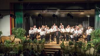 Die Brass Band Frohsinn Laupersdorf mit ihrem musikalischen Leiter Wolfgang Nussbaumer.
