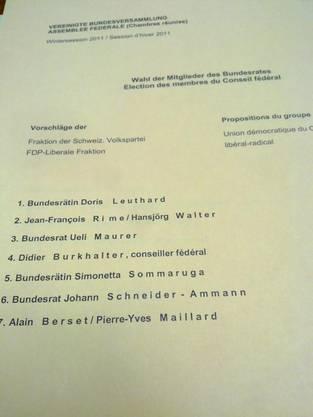 Wahlvorschlag FDP und SVP