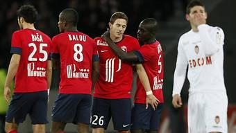 Lilles Nolan Roux (3.v.l.) Torschütze zum 1:0 gegen Monaco.