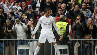Cristiano Ronaldo nach dem Führungstor gegen Bilbao in typischer Jubel-Pose