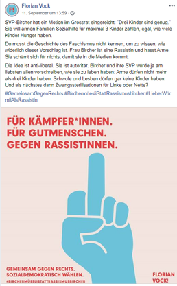 Um diesen Post geht es: Florian Vock nennt Martina Bircher eine Rassistin und findet Anklang