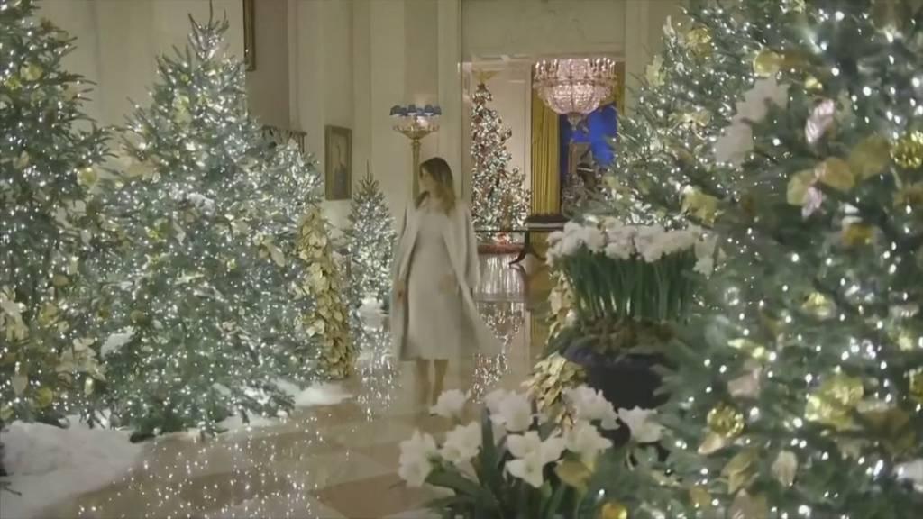 Pompöse Weihnachtsdeko bei den Trumps