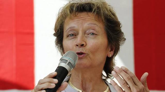 Bundespräsidentin Eveline Widmer-Schlumpf warnt vor der Euro-Krise (Archiv)