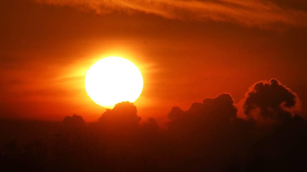 Sonnenaufgang über Frankfurt in Deutschland. (Archivbild)